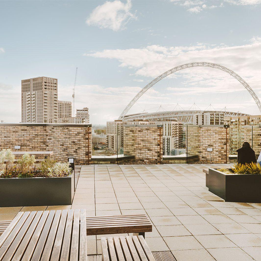 Albion Way Roof Terrace overlooking Wembley Stadium